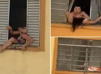 Έγκυος γυναίκα προσπαθεί να πηδήξει από το παράθυρο για να γλιτώσει το ξύλο από τον βίαιο άντρα της